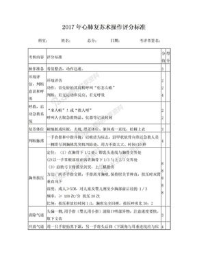 2017心肺复苏操作评分标准.doc