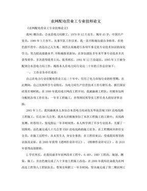 农网配电营业工专业技师论文.doc