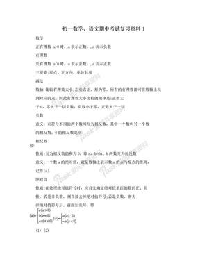 初一数学、语文期中考试复习资料1.doc