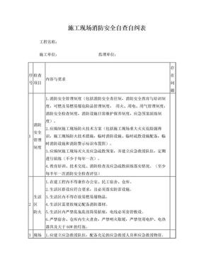 施工现场消防安全自查自纠表.doc