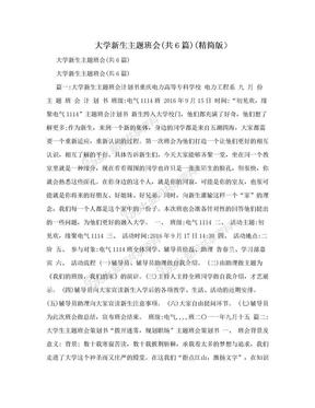 大学新生主题班会(共6篇)(精简版).doc