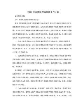 2014年重性精神病管理工作计划.doc