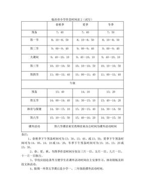 临沂市小学作息时间表.doc