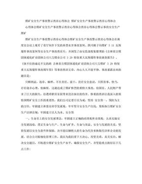 煤矿安全生产事故警示教育心得体会(范本).doc
