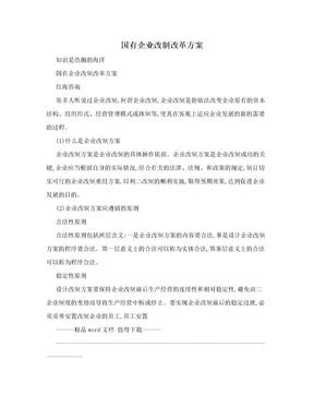 国有企业改制改革方案.doc