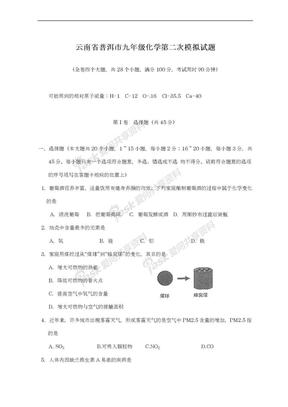 2019-2020学年云南省普洱市九年级中考化学第二次模拟试题.doc