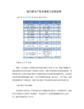 钛白粉生产技术现状与发展趋势.doc