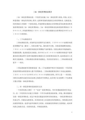 三标一体化管理体简介系.doc