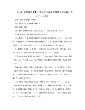 【小学 五年级语文】小学语文五年级下册期末综合复习卷3 共(6页).doc
