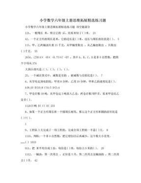 小学数学六年级上册思维拓展精选练习题.doc