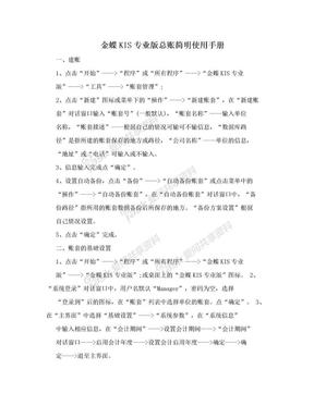 金蝶KIS专业版总账简明使用手册.doc