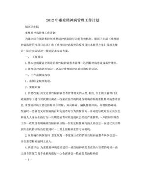 2012年重症精神病管理工作计划.doc
