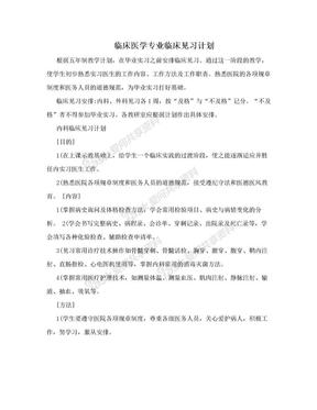 临床医学专业临床见习计划.doc