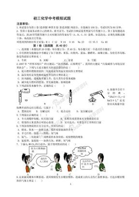 初三化学中考模拟试题.docx