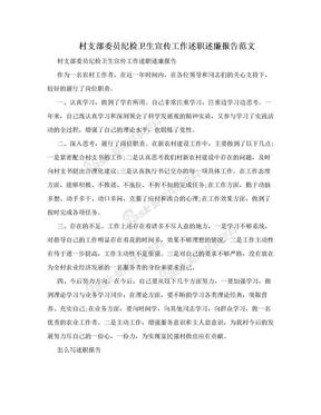 村支部委员纪检卫生宣传工作述职述廉报告范文.doc