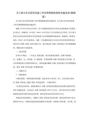 关于建立社会组织党建工作经费保障机制的实施意见(精简篇).doc