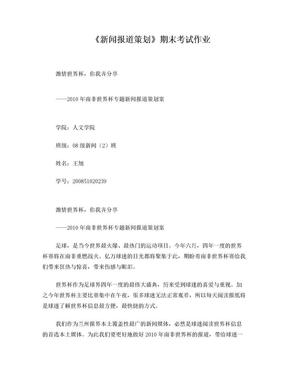 世界杯专题新闻报道策划.doc