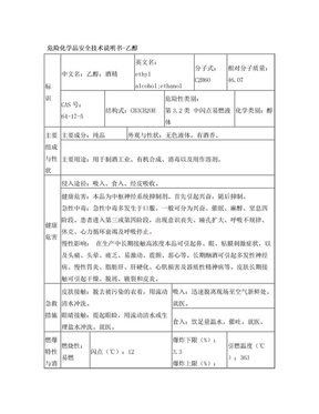 危险化学品安全技术说明书-乙醇.doc