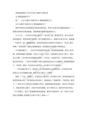 [那段温暖的日子作文]2013安徽中考满分作文:那段温暖的日子.doc