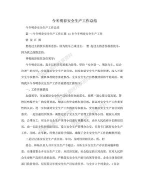 今冬明春安全生产工作总结.doc