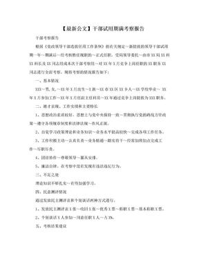 【最新公文】干部试用期满考察报告.doc