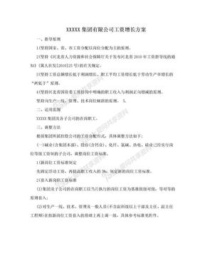 XXXXX集团有限公司工资增长方案.doc