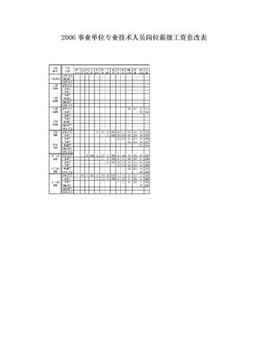 2006事业单位专业技术人员岗位薪级工资套改表.doc