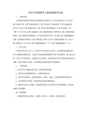 小学六年级科学上册实验教学计划.doc
