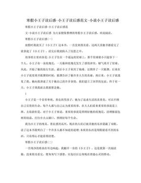 寒假小王子读后感-小王子读后感范文-小说小王子读后感.doc