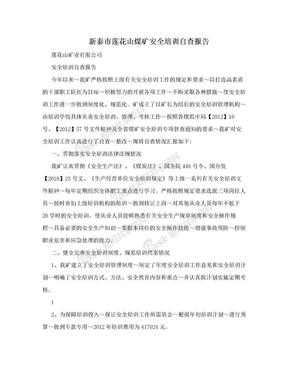 新泰市莲花山煤矿安全培训自查报告.doc