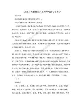 高速公路桥梁养护工程师培训心得体会.doc