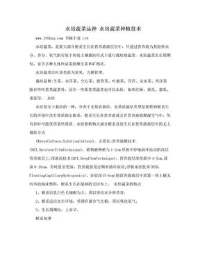 水培蔬菜品种 水培蔬菜种植技术.doc