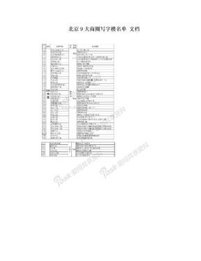 北京9大商圈写字楼名单 文档.doc