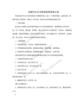 出租汽车公司组织机构设置方案.doc