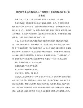 黑龙江省工商行政管理局行政处罚自由裁量权基准电子公示表格.doc