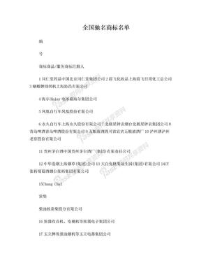 中国驰名商标、企业名单.doc