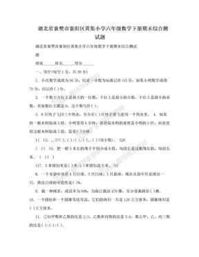 湖北省襄樊市襄阳区黄集小学六年级数学下册期末综合测试题.doc