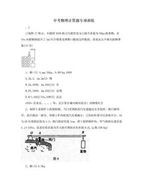中考物理计算题专项训练.doc