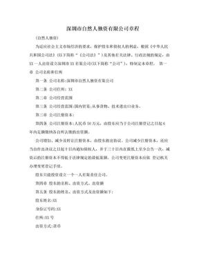 深圳市自然人独资有限公司章程.doc