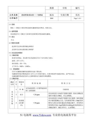 电池电解液检验标准.doc