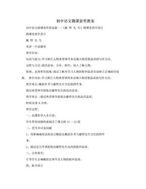 初中语文微课获奖教案.doc