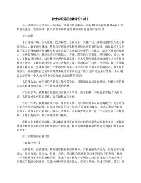 护士求职简历自我评价(精).docx