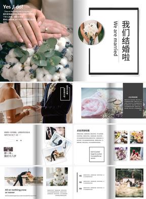 杂志风大气翻页动画简约小清新婚礼相册PPT模板