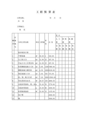 工 程 预 算 表.doc