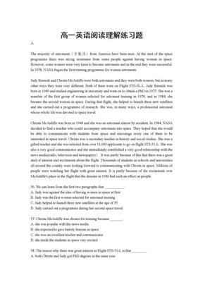 高一英语阅读理解练习题.doc