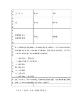 网络安全主题班队会记录表.doc