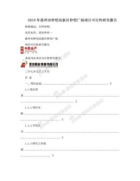 2018年惠州市仲恺高新区仲恺广场项目可行性研究报告.doc