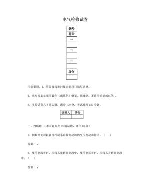 电厂电气检修试题.doc