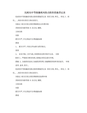 民政局中等级廉政风险点防控措施登记表.doc