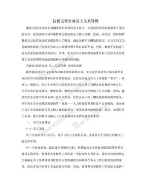 浅析民营企业员工关系管理.doc